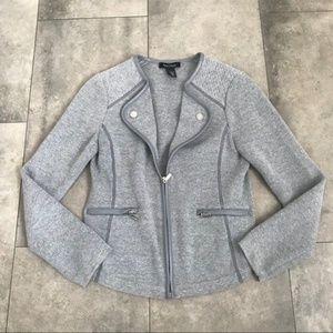 WHBM gray zip blazer small